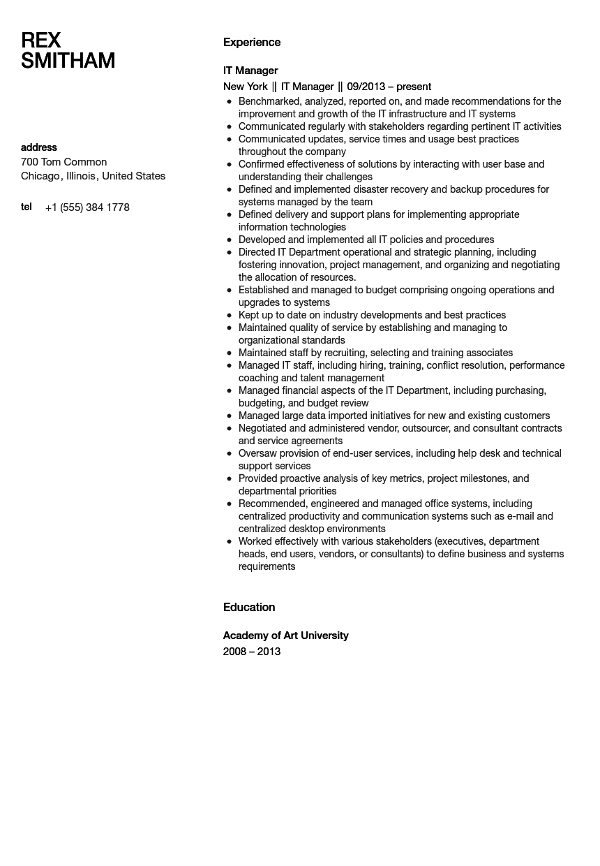 it manager resume sample - Sample Resume For Manager