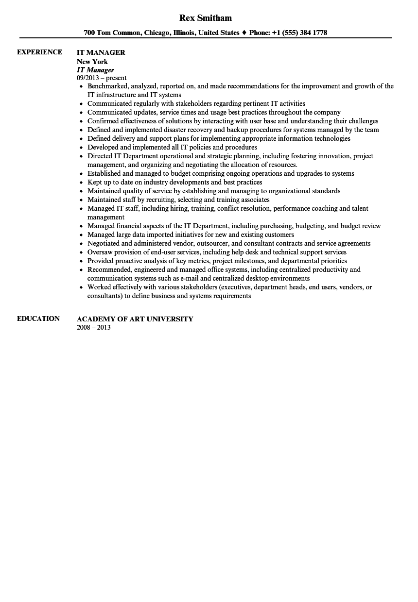 IT Manager Resume Sample Velvet Jobs