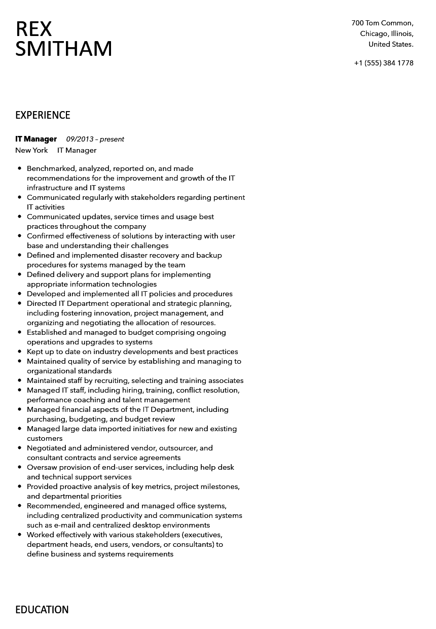 IT Manager Resume Sample  It Manager Resumes
