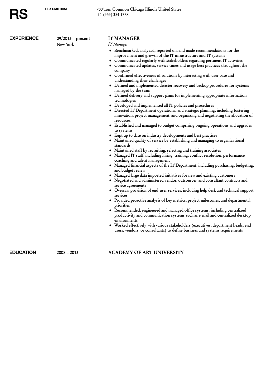 it manager resume sample | velvet jobs - It Manager Resume Examples