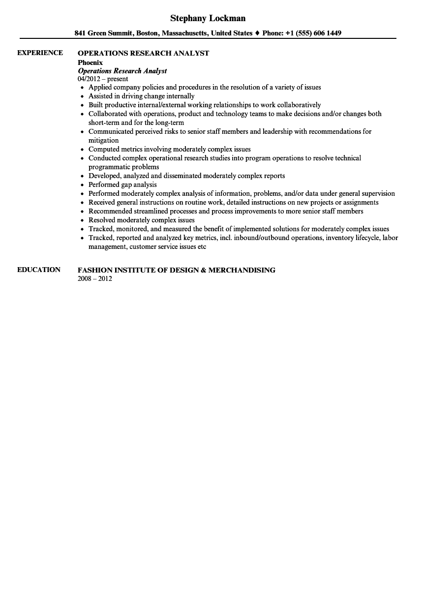operations research analyst resume sample velvet jobs