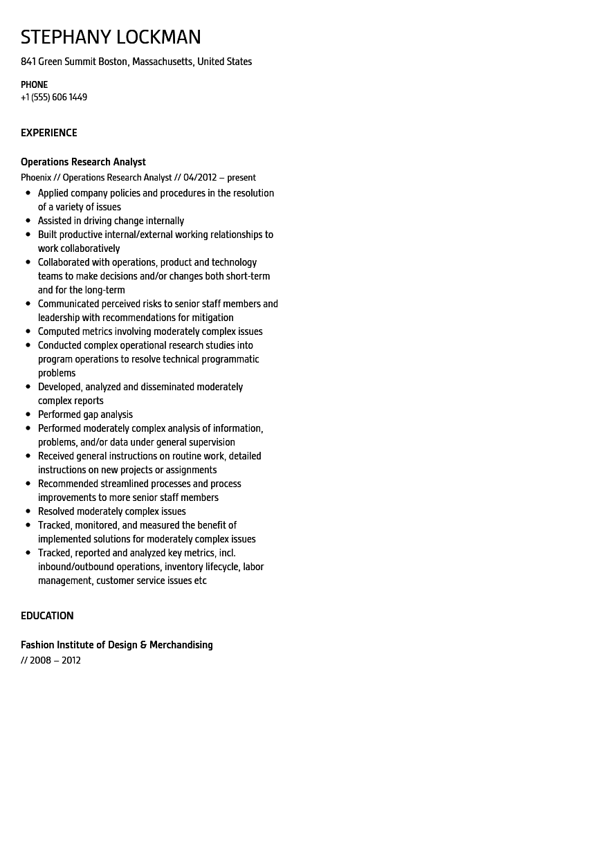 Operations Research Analyst Resume Sample