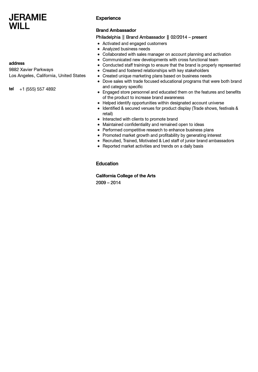 Brand Ambassador Resume Sample Velvet Jobs
