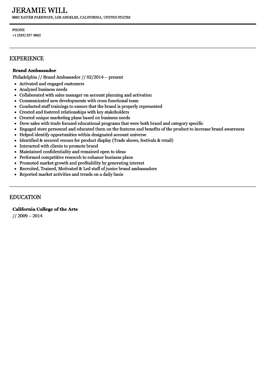 Brand Ambassador Resume Sample