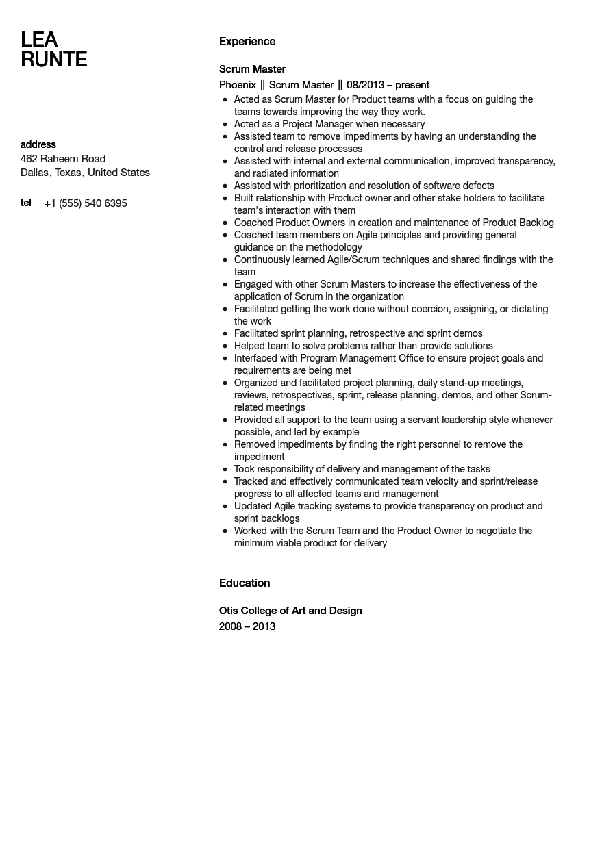 scrum master responsibilities resume