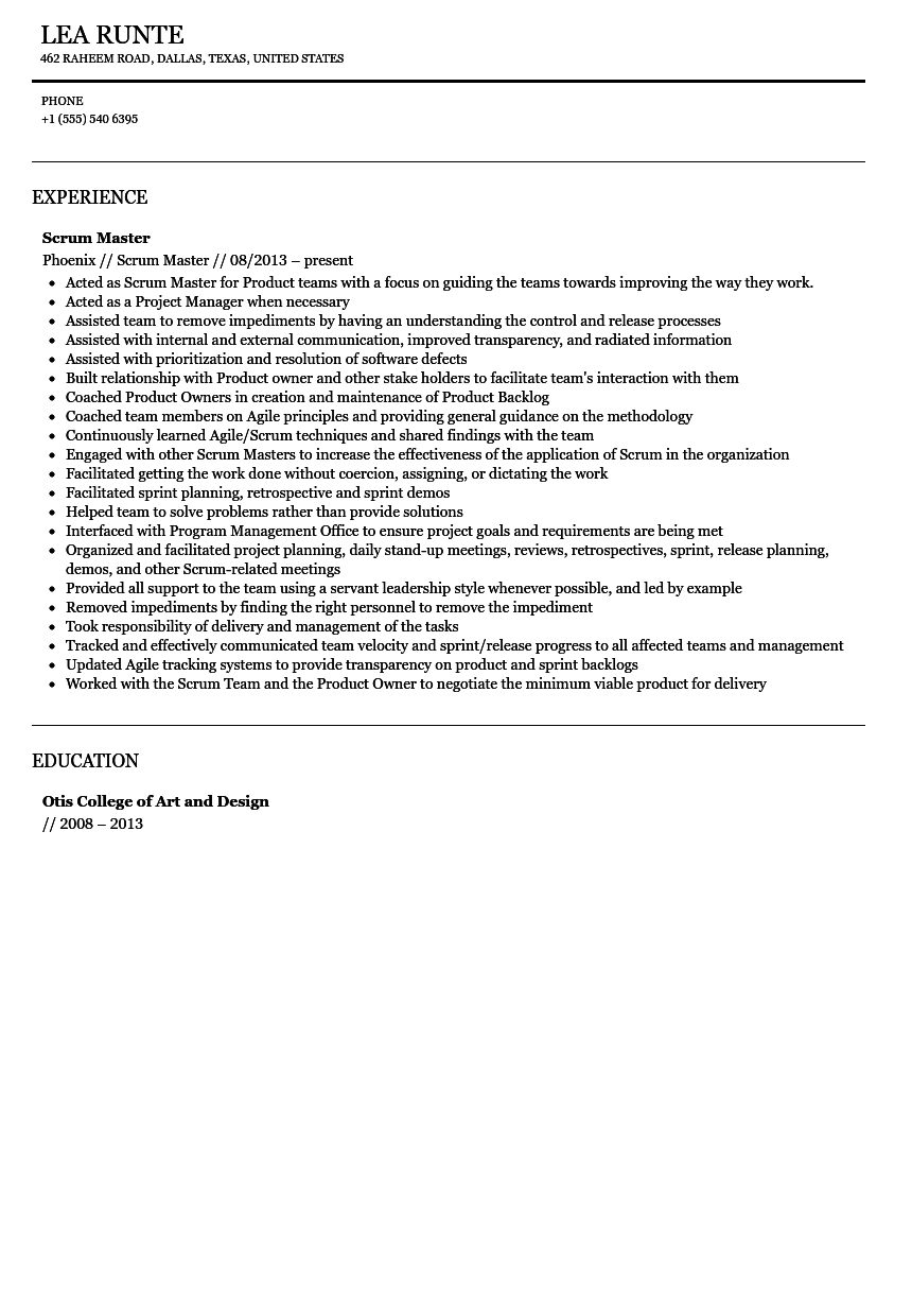 scrum master resume sample - Scrum Master Resume Sample