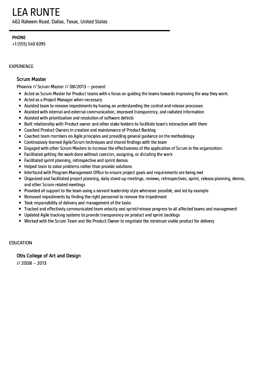 Perfect Scrum Master Resume Sample And Scrum Master Resume