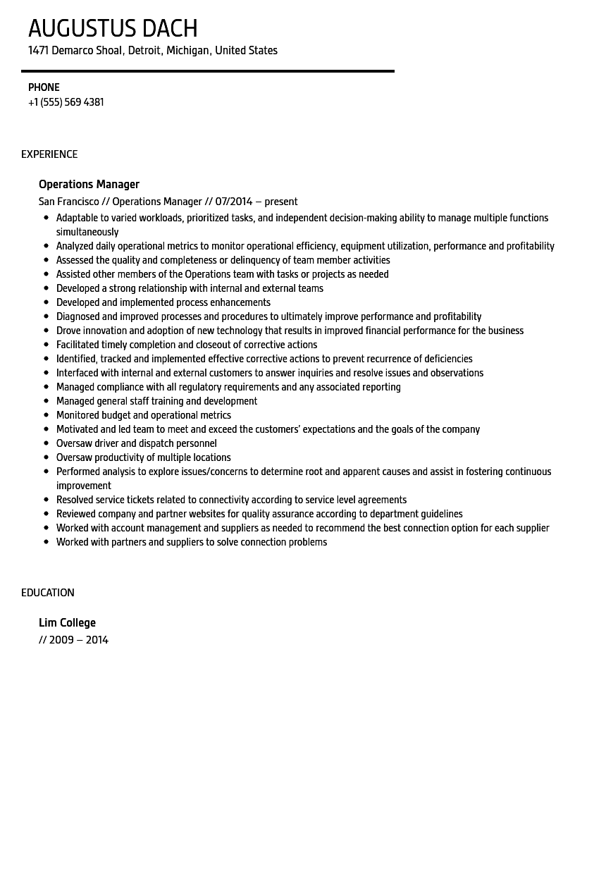 Operations Manager Resume Sample  Resume For Operations Manager
