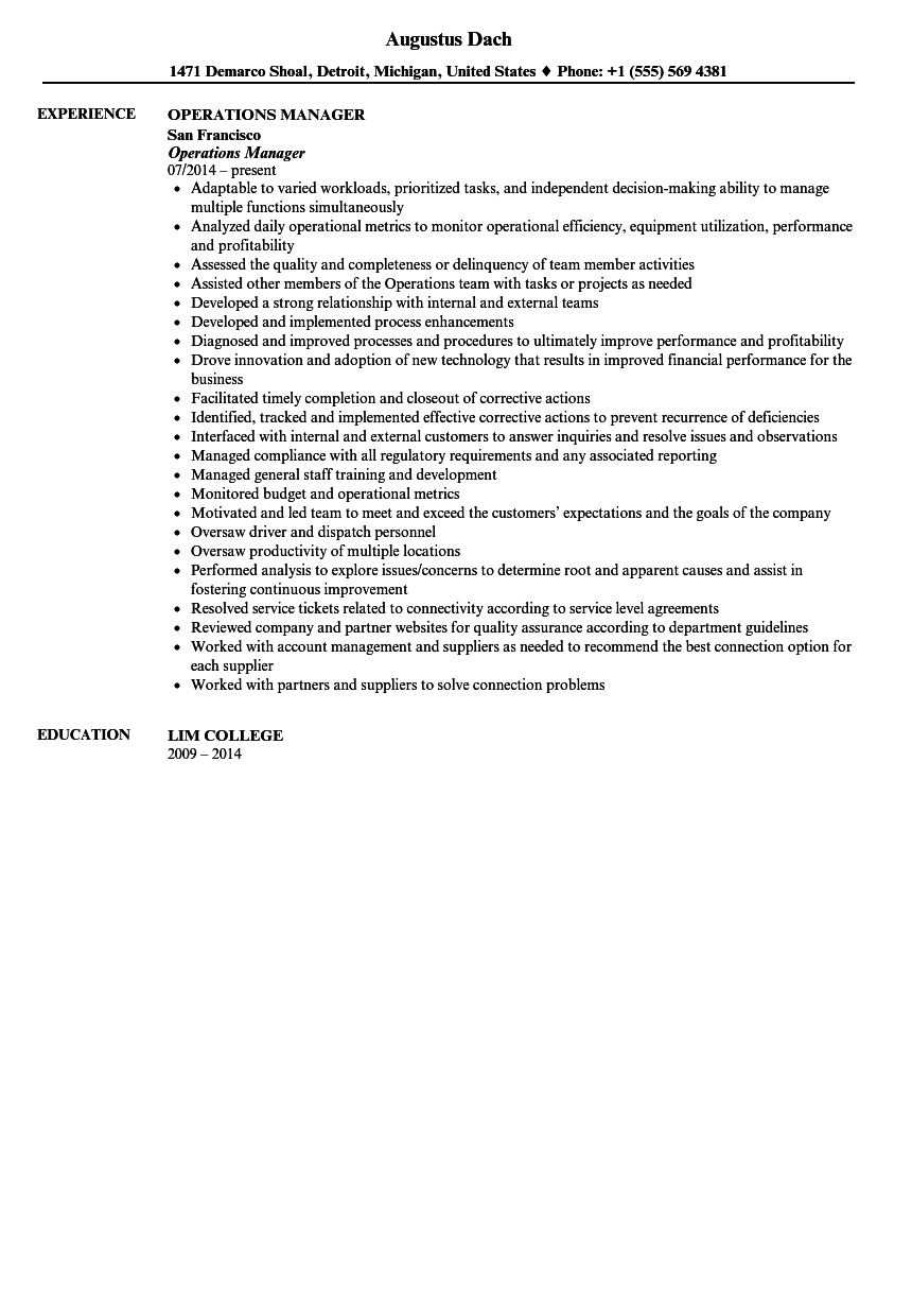 Operations Manager Resume Sample  Operations Manager Resume