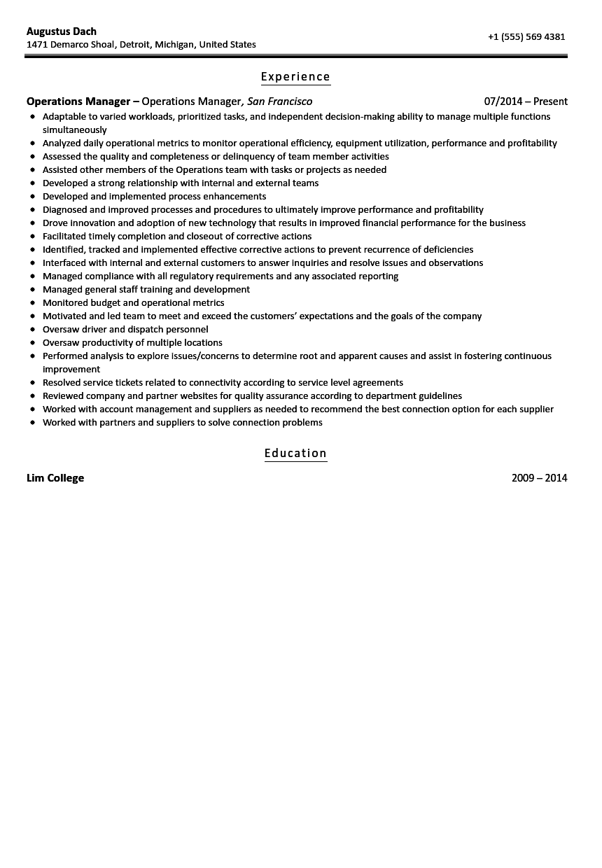 Operations Manager Resume Sample  Manager Resume