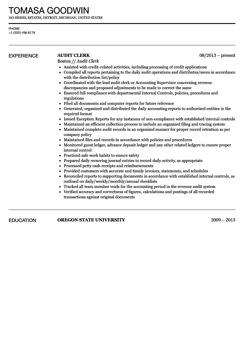 Audit Clerk Resume Sample
