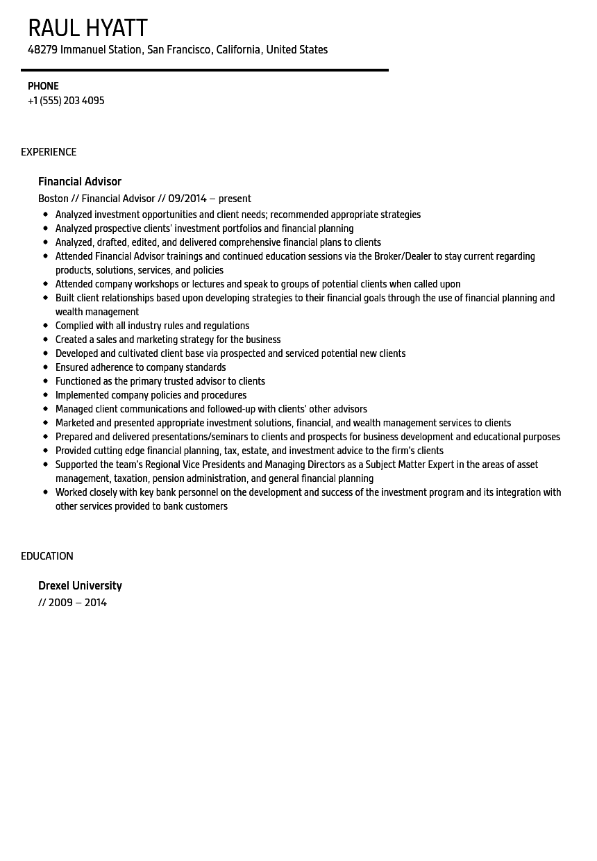 Financial Advisor Resume Sample