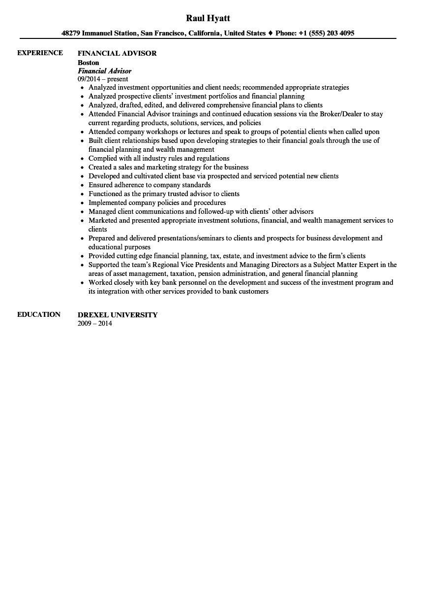 Financial Advisor Resume Sample  Financial Advisor Resume