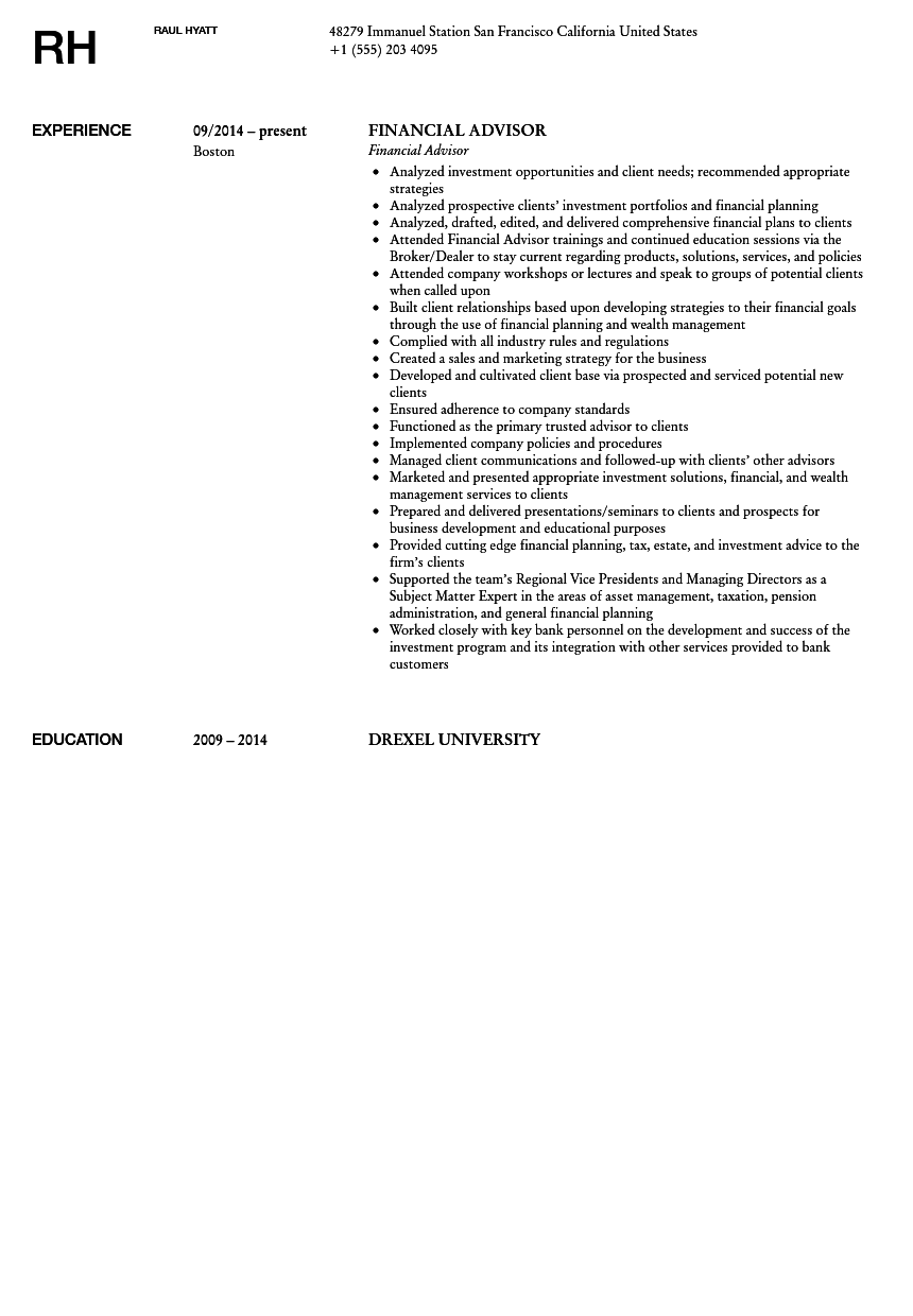 financial advisor resume sample - Sample Resume Financial Advisor