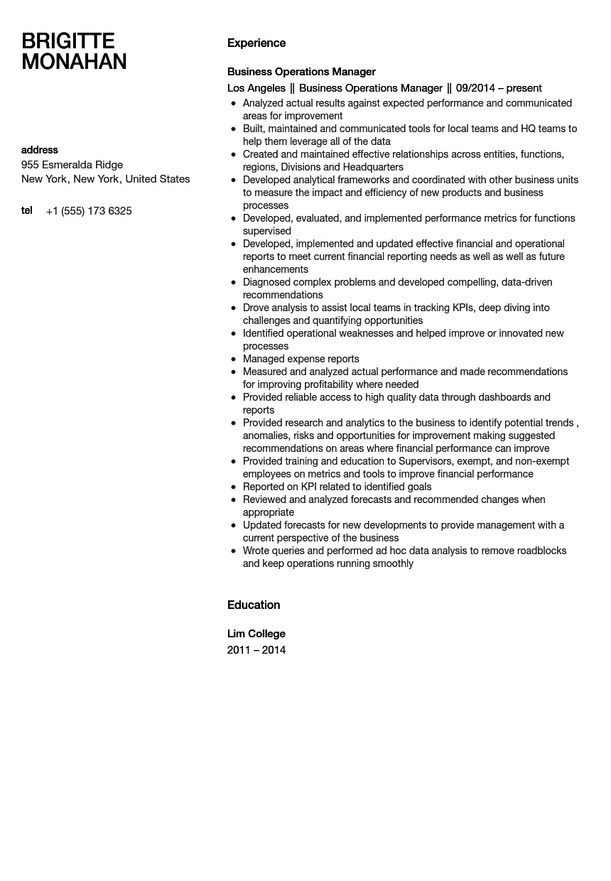 business operations manager resume sample - Business Operation Manager Resume