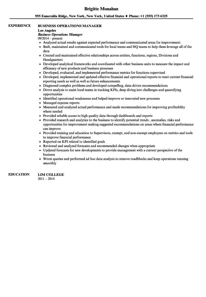Business Operations Manager Resume Sample  Operations Manager Resume