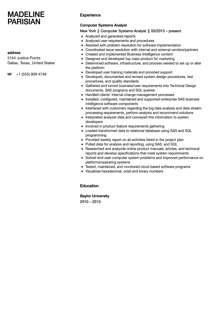 computer systems analyst resume sample - Systems Analyst Resume