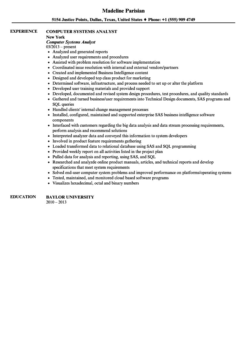 Computer Systems Analyst Resume Sample | Velvet Jobs