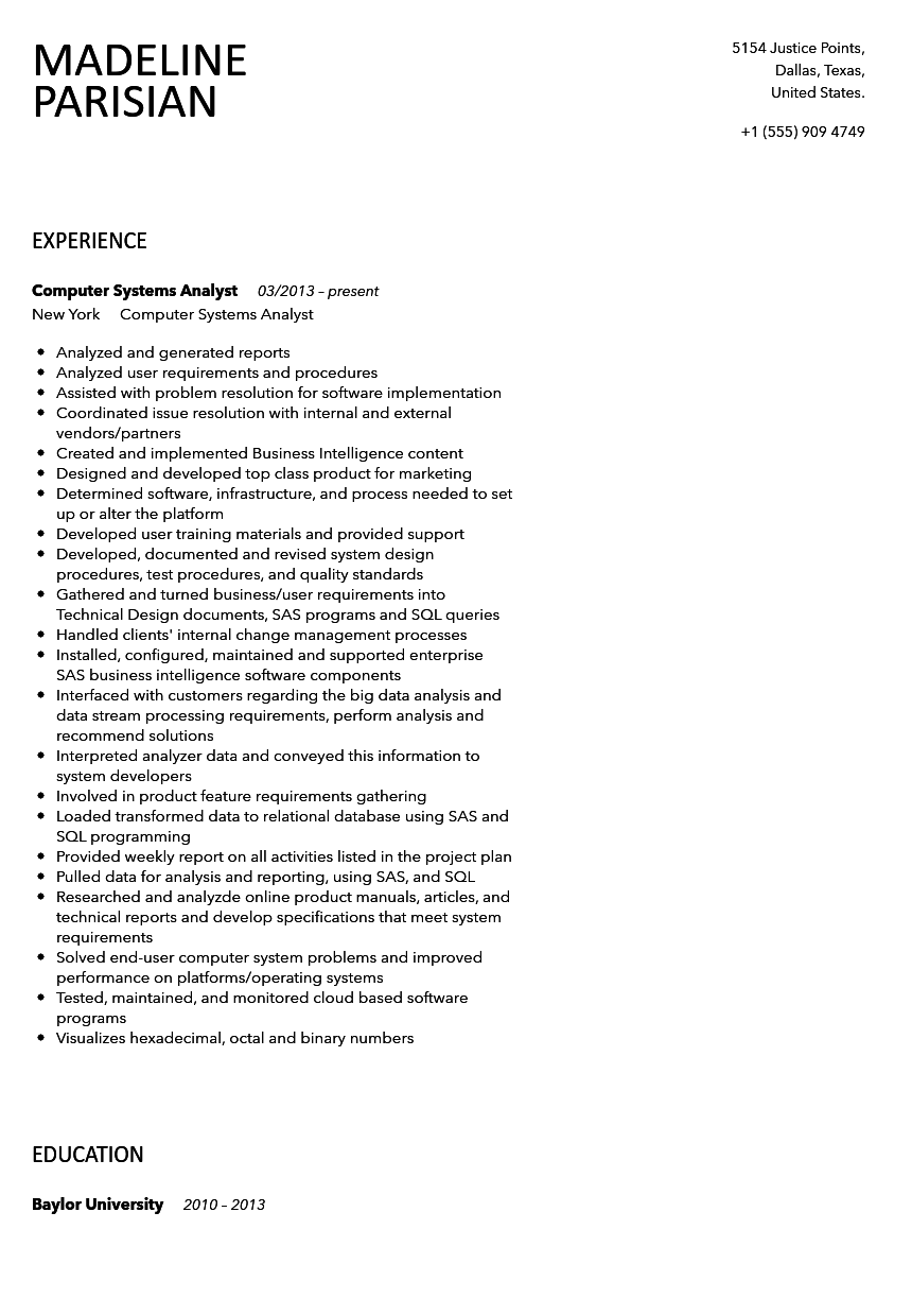 Computer Systems Analyst Resume Sample  Systems Analyst Resume