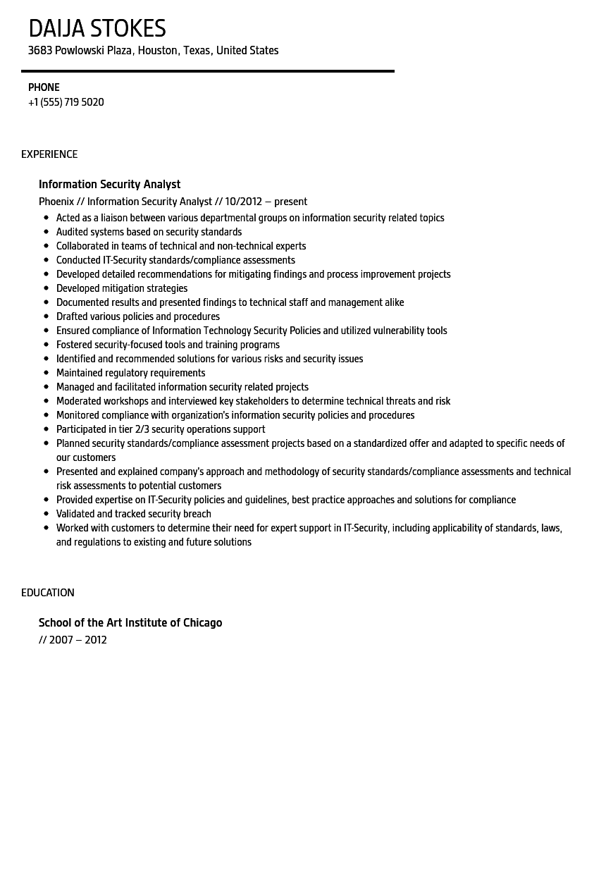 information security analyst resume sample velvet jobs