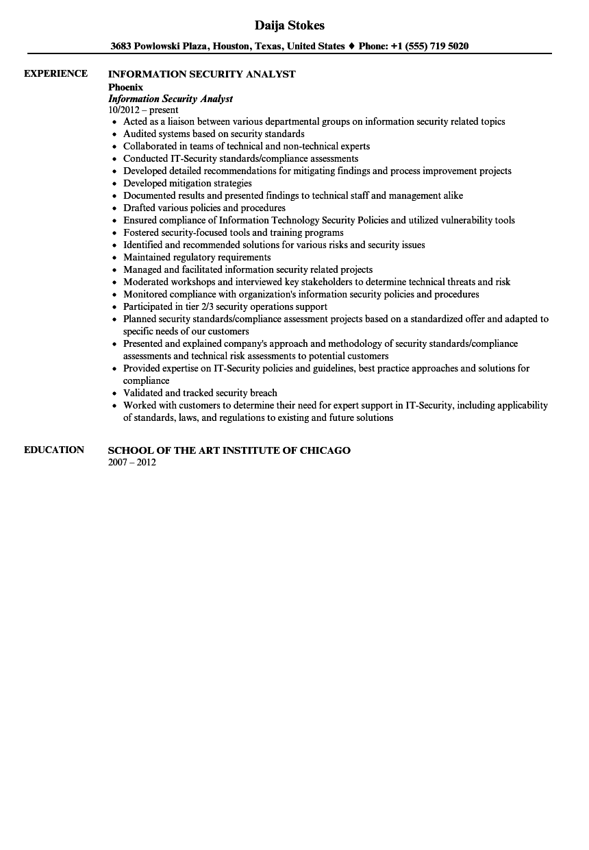 information security analyst resume sample