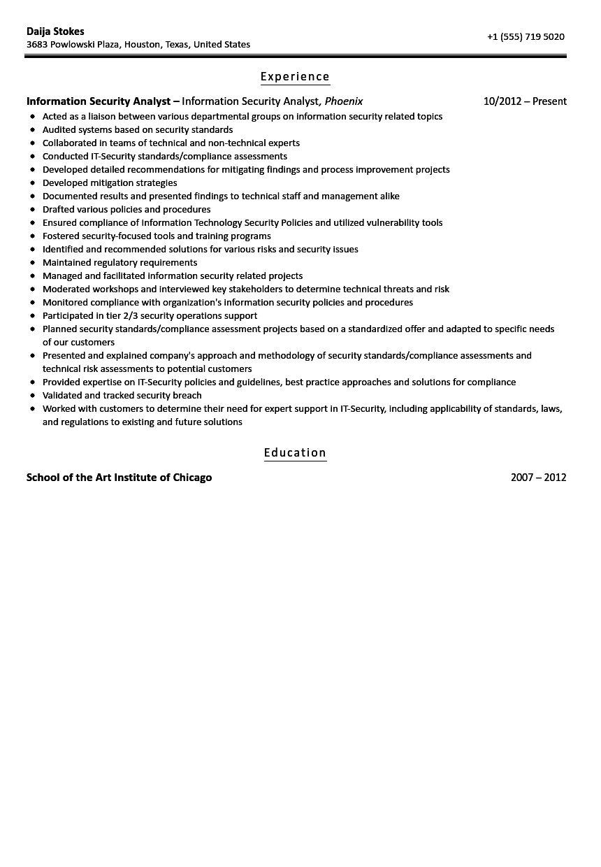 information security analyst resume sample - Standard Resume Sample