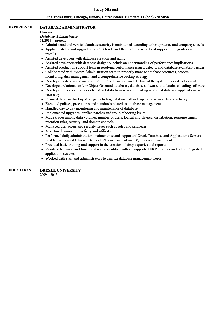 database administrator resume sample - Administrative Resume Samples