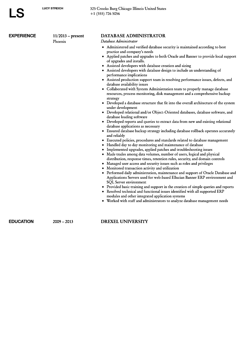 Database Administrator Resume Sample Velvet Jobs