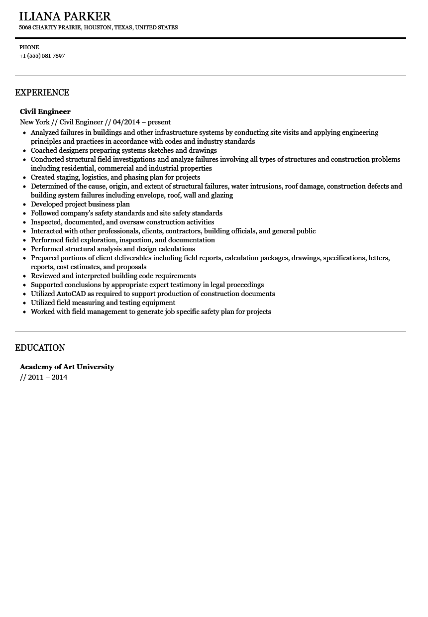 Civil Engineer Resume Sample  Civil Engineer Resume Sample