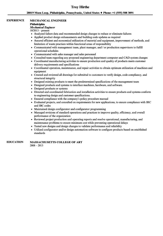 mechanical engineer resume sample velvet jobs