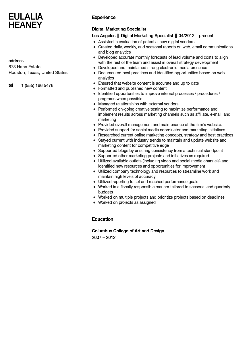 Digital Marketing Specialist Resume Sample Velvet Jobs Digital ...