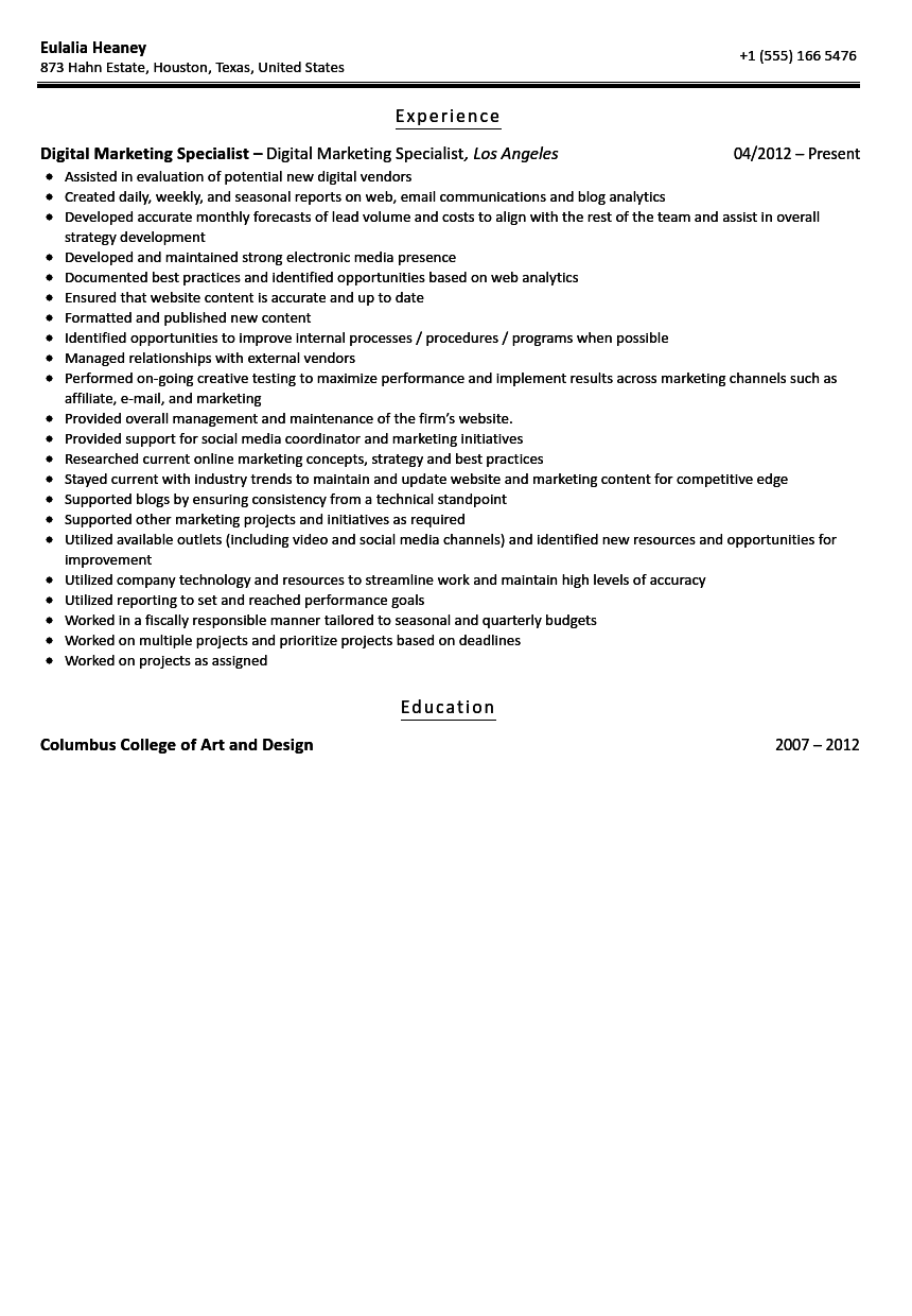 digital marketing specialist resume sample velvet jobs