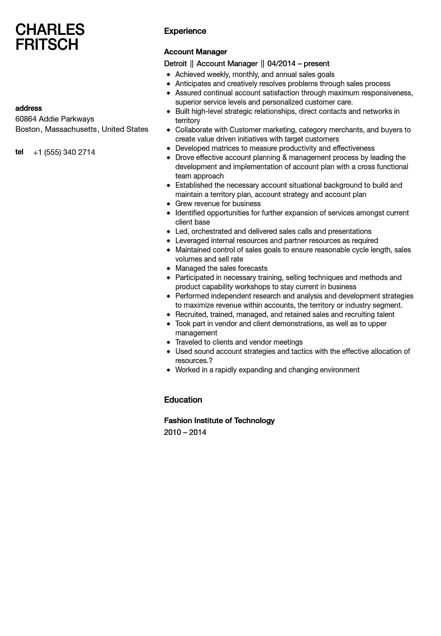 account manager resume sample - Sample Account Manager Resume