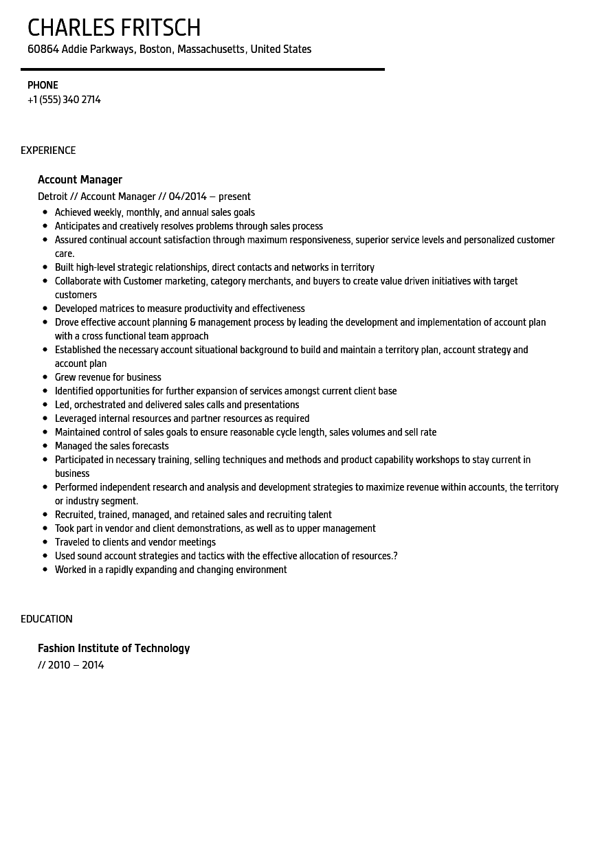 account manager resume sample velvet jobs