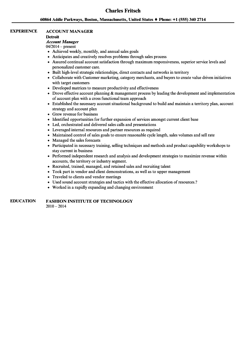 Account Manager Resume Sample  Manager Resume