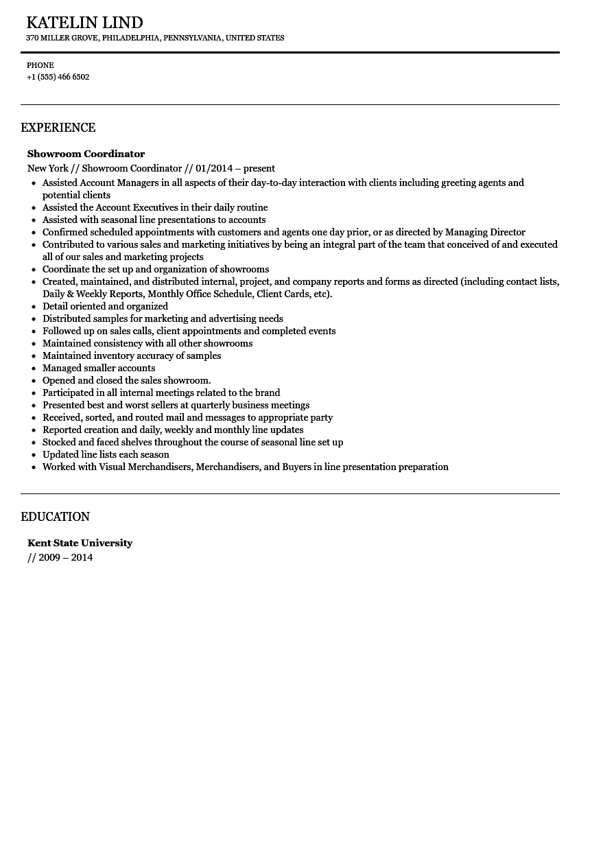 showroom coordinator resume sample. Resume Example. Resume CV Cover Letter