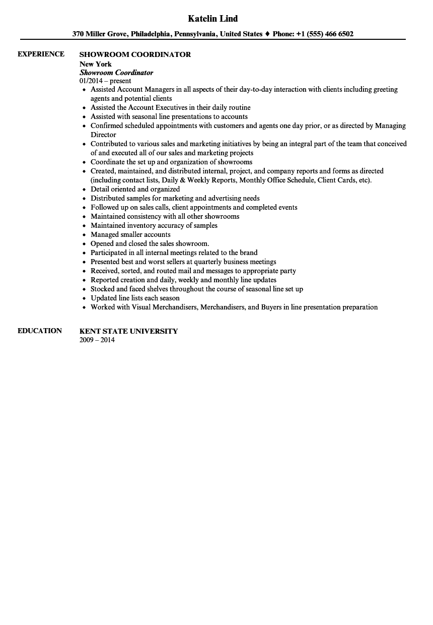showroom coordinator resume sample - Coordinator Resume