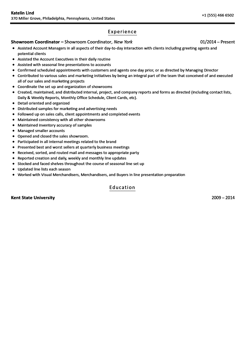 Showroom Coordinator Resume Sample