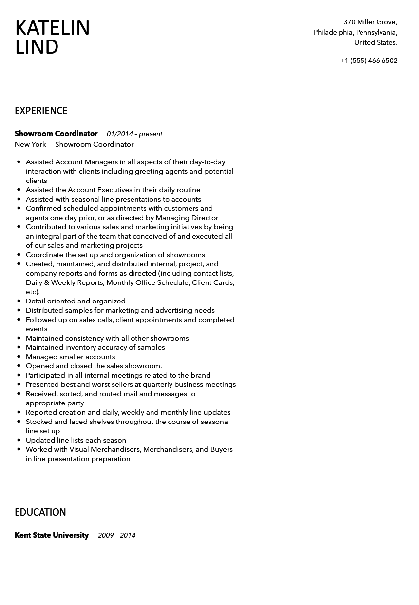 Showroom Coordinator Resume Sample  Velvet Jobs