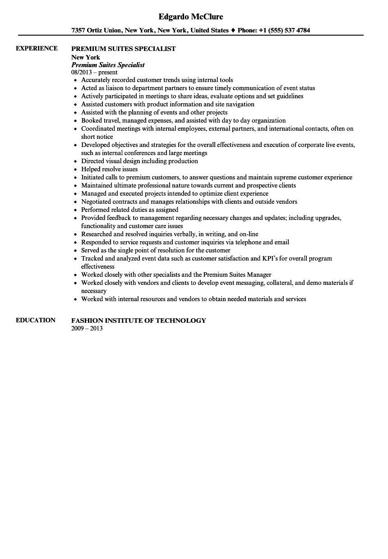premium suites specialist resume sample