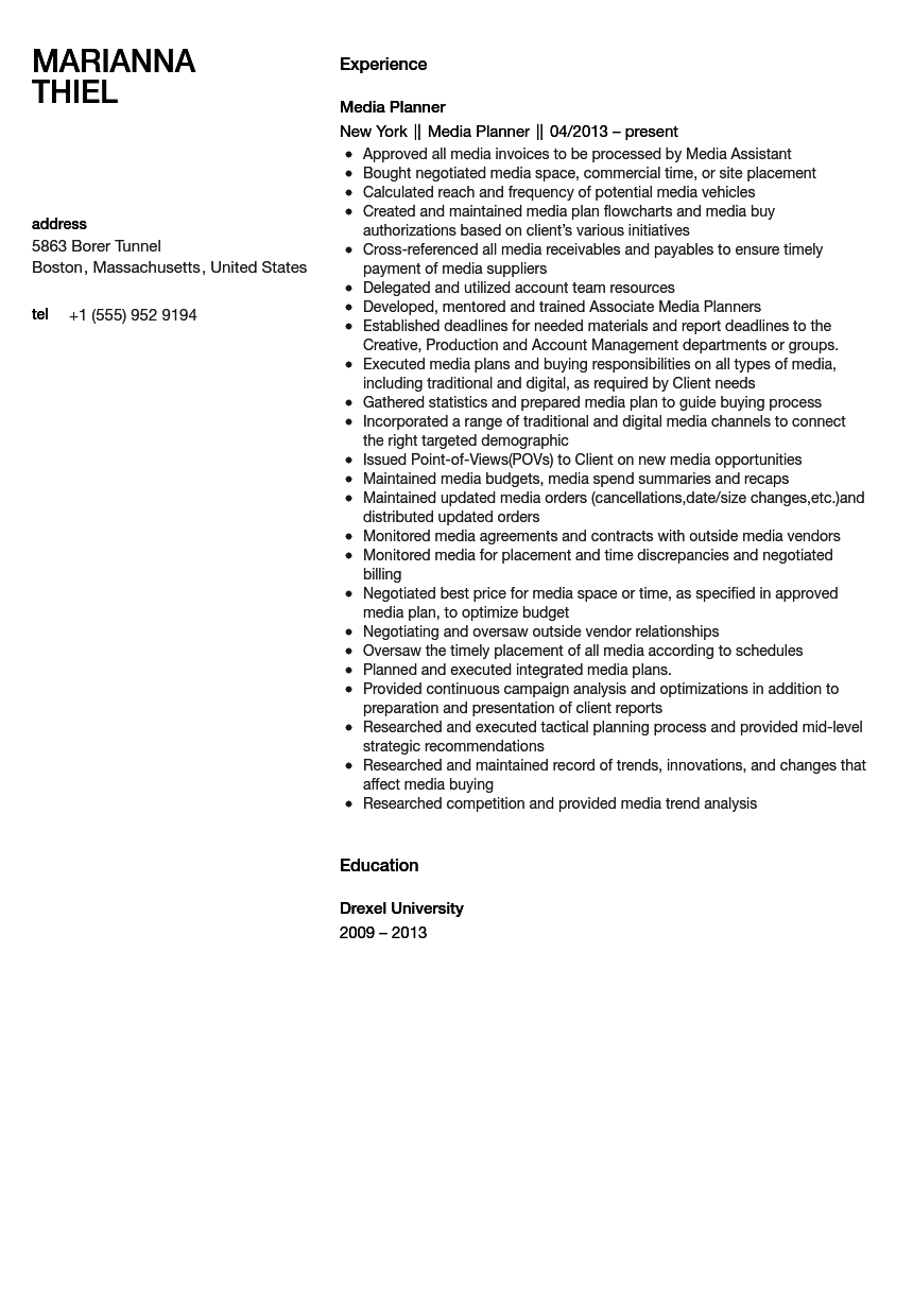 Media Planner Resume Sample  Media Planner Resume