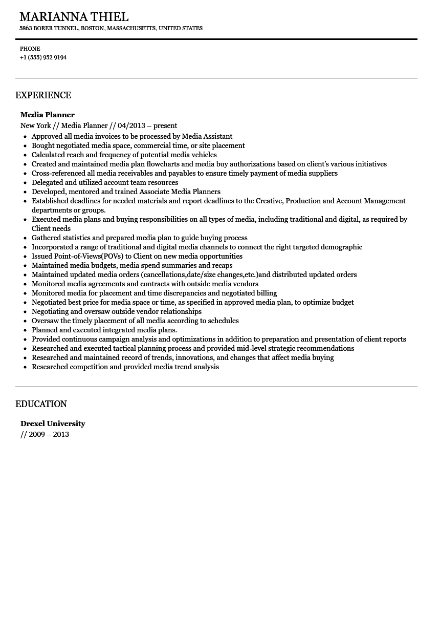 Great Media Planner Resume Sample  Media Planner Resume