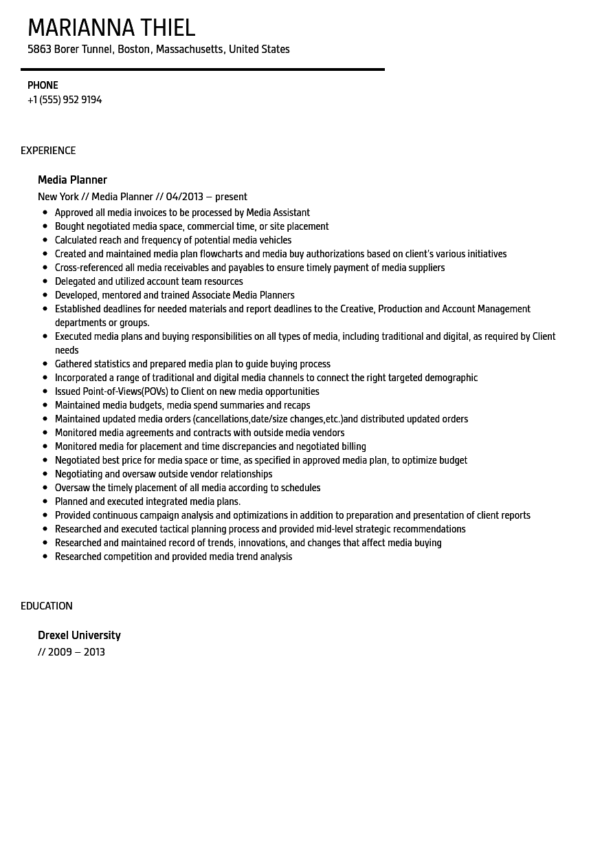Delightful Media Planner Resume Sample Ideas Media Planner Resume