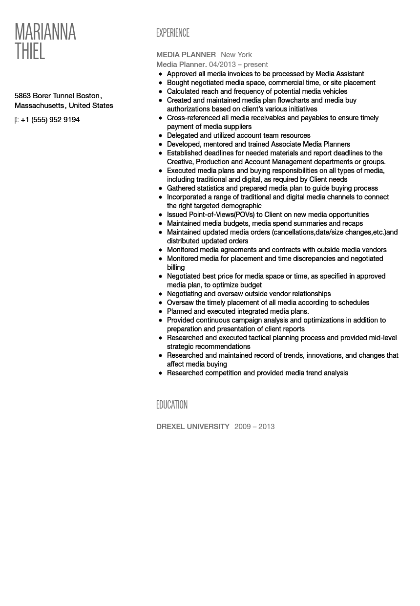 media planner resume sample