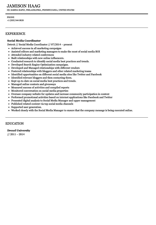 social media coordinator resume sample