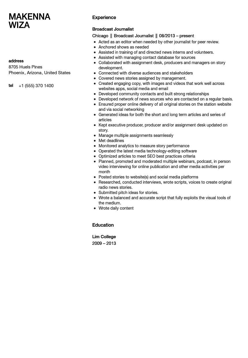 Broadcast Journalist Resume Sample Velvet Jobs