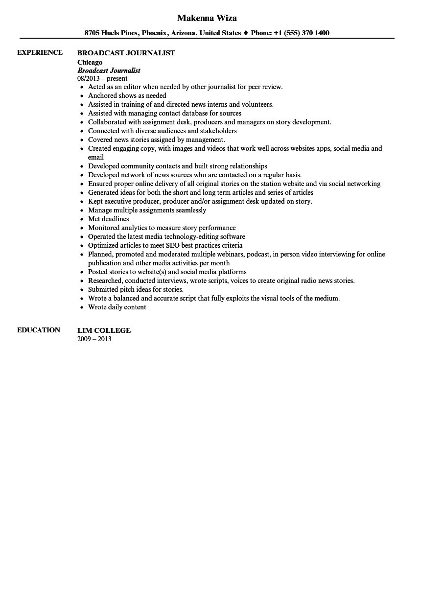 Broadcast Journalist Resume Sample  Broadcast Journalism Resume