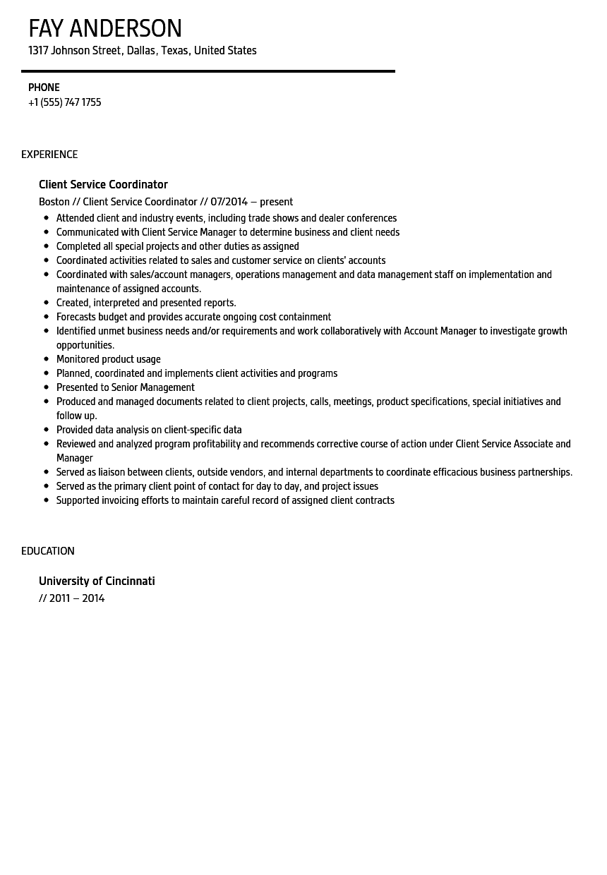customer support coordinator resume