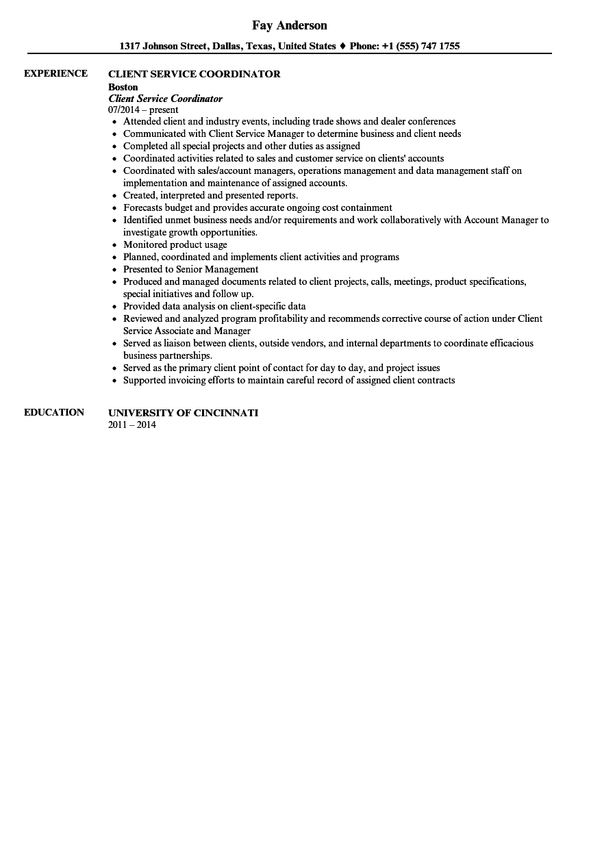 Client Services Coordinator Resume Sample