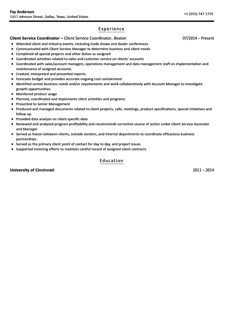 client services coordinator resume sample velvet jobs